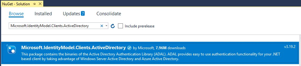 Authentication with ADAL package