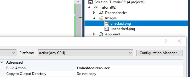 Add the images as embedded resources